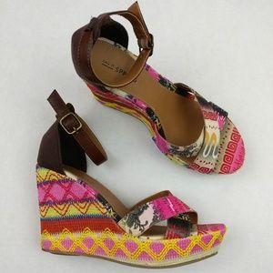 Call It Spring Bohemian Platform Wedge Sandals 8B